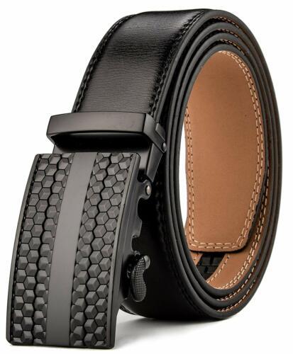Men/'s Leather Ratchet KMBEST Adjustable Slide Belt for Men with Automatic Buckle