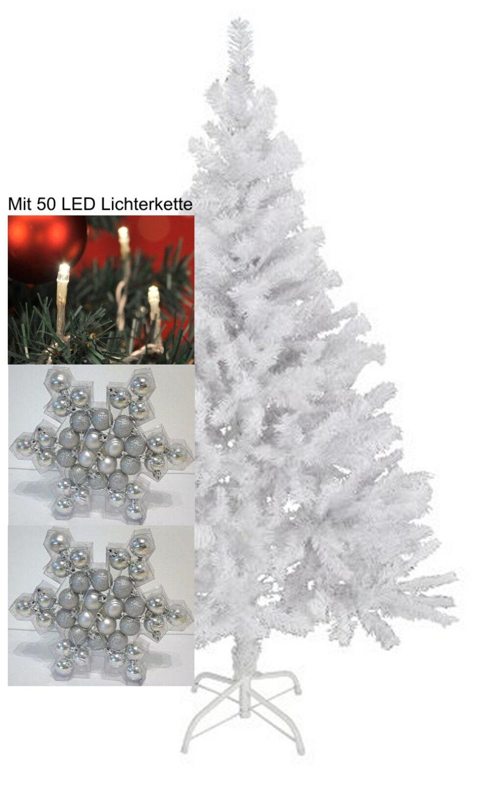 Beleuchteter Weihnachtsbaum weiß 180cm   50 LED   930 Spitzen 64 Kugeln  5550306