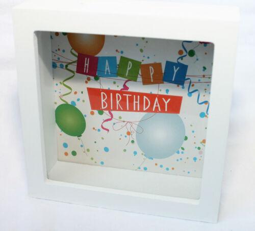 Spardose Rahmen Happy Birthday Holz und Glas Geburtstag 15x15x5cm