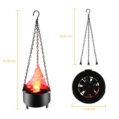 Electric LED Hanging Flaming Fake Fire Lamp Torch Light for Halloween Xmas Party