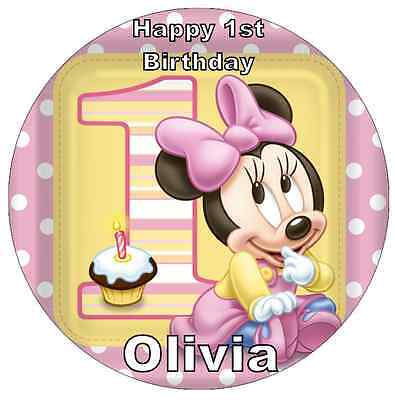 Amazing Minnie Mouse 1St Birthday Personalised Cake Topper 7 5 Edible Funny Birthday Cards Online Inifodamsfinfo