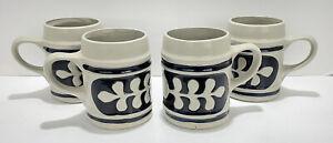 Williamsburg Pottery Large Salt Glaze Mug Tankard Cobalt Blue Oak Leaf Set of 4