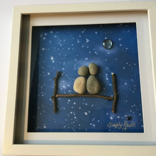 Unusual /& Unique Beautiful Homemade Pebble Rock Art Picture Friends Family Gift