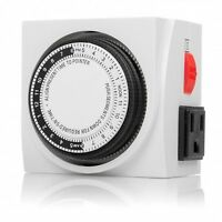 ( Ul ) 2-outlet Mechanical 24-hour Timer With On/off Switch For Wall Plug