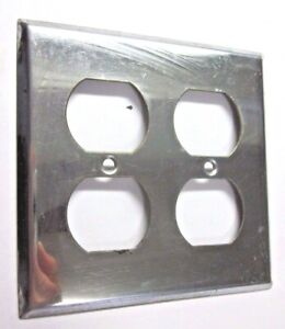 Details About 1 Vintage 2 Gang Outlet Wall Plate Cover Retro Polished Chrome Plated Steel