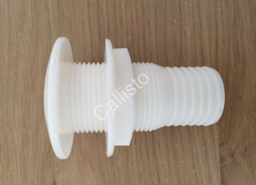 """Plastic Boat Skin Fitting 1/"""" bsp body x 1/"""" and 3//4/"""" bore hose"""