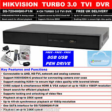 HIKVISION 4 CH TURBO 3.0 TVI DVR CVBS,AHD,IP & ANALOG EZVIZ DS-7204HQHI-F1/N+USB