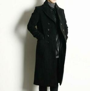 Men-039-s-Long-military-trench-wool-blend-double-breasted-overcoat-knee-length-coat