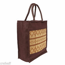Saffron Craft Brown Large Jute Lunch Bag
