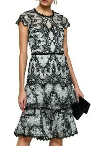 Details About 795 New Marchesa Notte Corded Lace Dress Embroidery Velvet Black White Tiered 8