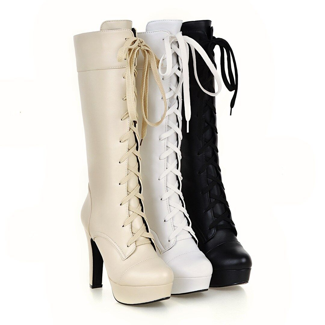 Ladies Lace Up shoes Synthetic Leather Platform High Heels Boots UK Size b111