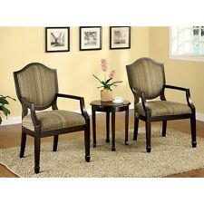 Arm Chairs Set of 3 Accent Table Cushioned Dining Chair Seat Living Room Seating