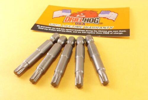"Drill Hog® T-27 Torx Bit T-27 Star Bit Insert T-27 x 2/"" Lifetime Warranty 5 Pcs"