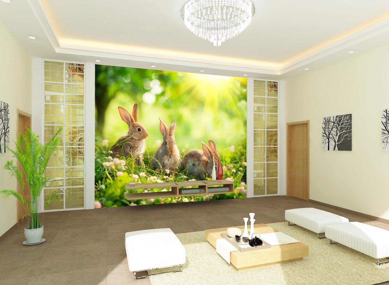 3D Grassy Hare Sunshine 872 Wallpaper Mural Paper Wall Print Wallpaper Murals UK