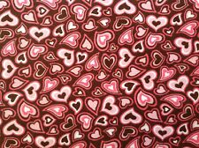 ~ FLANNEL ~JoAnn~Quilting ~Fabric~Hearts~Pink~Brown~ Flannelette ~Girls~FQ~