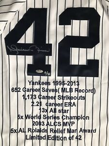 MARIANO RIVERA Autograph Jersey Career Stats 6/42 HOF AUTO Yankees Hall of Fame