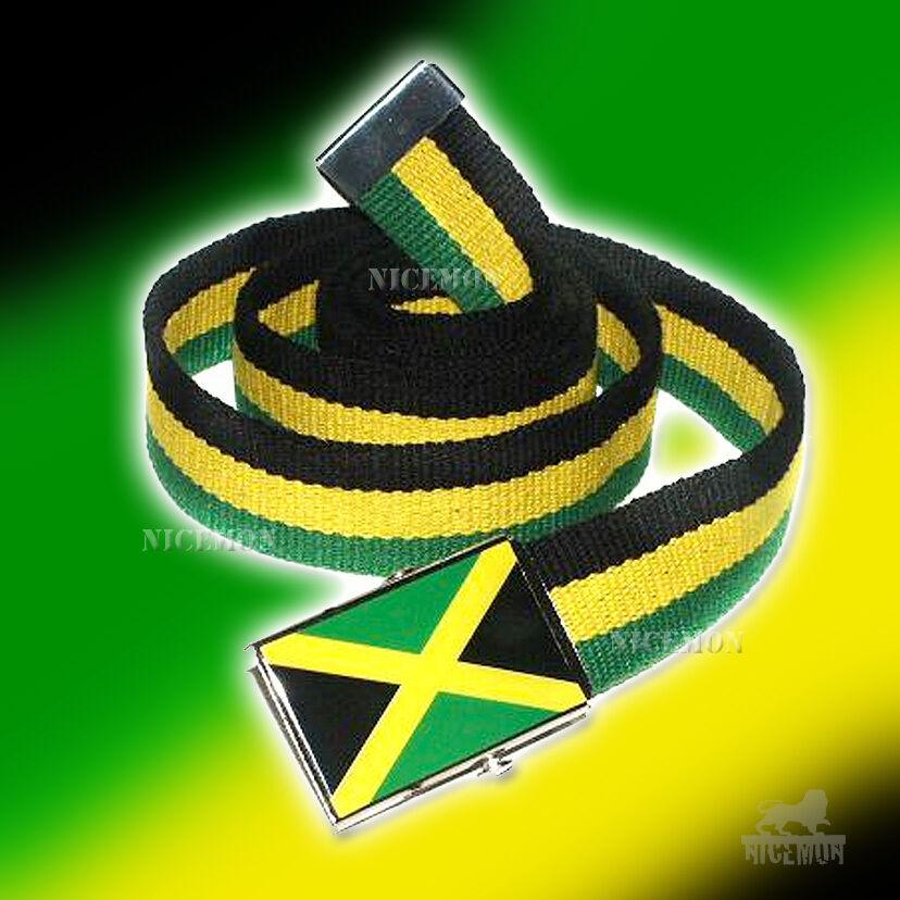 Jamaica Cavas Gürtel Flagge Schnalle Rasta Rastafari Kingston Usain Marley Irie