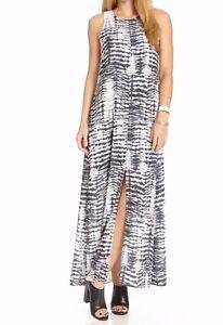 455035fbb01 Karen Kane 2L83058 Black Woven Tie Dye Maxi Dress Split Front Maxi ...
