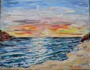 canvas-HALF-MOON-BAY-SUNSET-8x10-sunset-shore-oil-painting-beach-signed-CROWELL