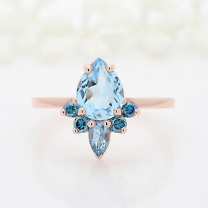 Blue-Aquamarine-Pear-Round-Diamond-14K-Solid-Rose-Gold-Ring-Engagement-KD669