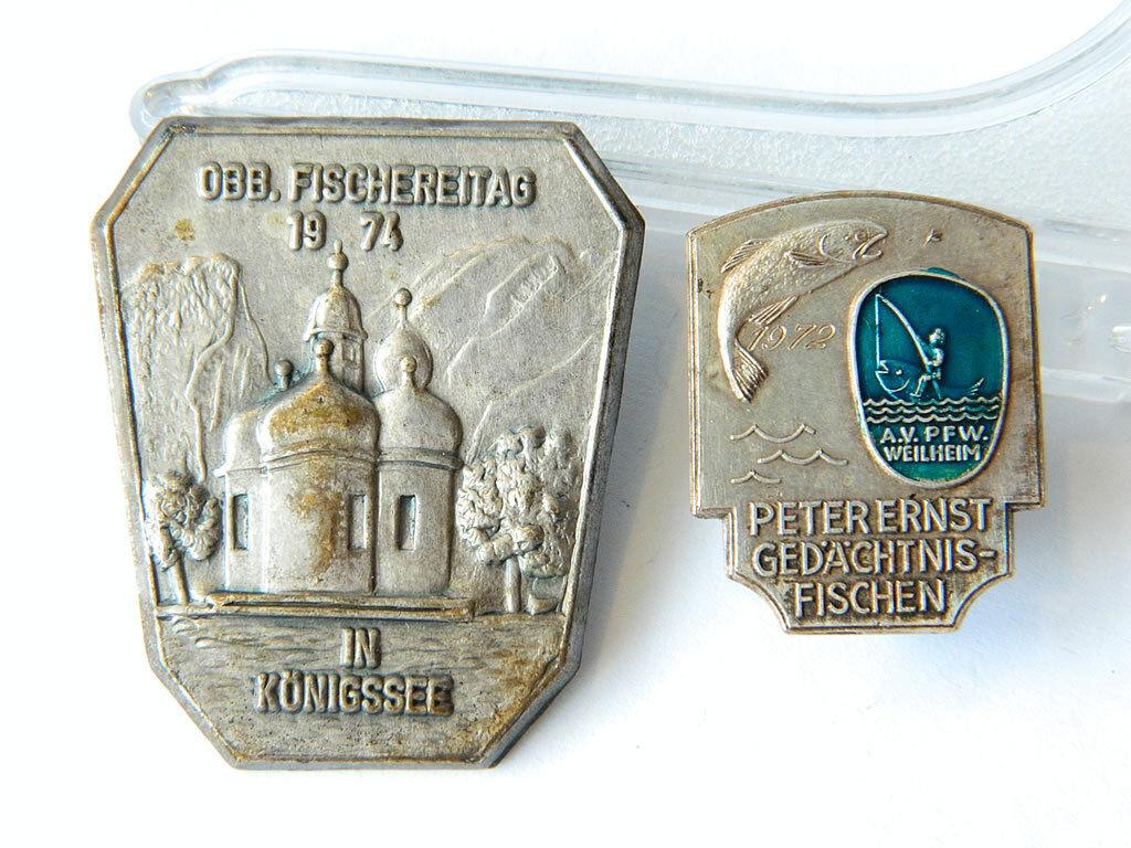 2x Sport Fishing BADGES Germany 1972-74 Fischereitag Abzeichen