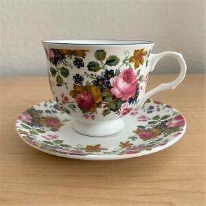 Sadler Wellington Olde Chintz Pink Roses Fine Bone China Cup and Saucer Set