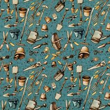 Free Spirit Marjolein Bastin Garden Tools Teal Quilting Fabric By The Yard