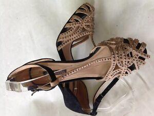 Rare-ZARA-Beige-Crystal-Diamante-Jelly-Studded-Heels-Heel-Sandals-UK-7-Euro-40