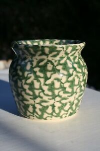 Vintage-Green-White-Spongeware-Pot-Jar-Roseville-Ohio-MCM
