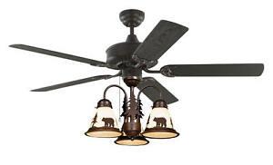 52 Lodge Rustic Cabin Country Ceiling Fan W Light Kit Bear Moose Deer Pinetree Ebay