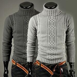 Herren-Winter-Warm-Strickpullover-Rollkragen-Pulli-Jumper-Sweater-Sweatshirt-Top