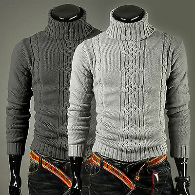 Mens Knitted Polo Roll Turtle Neck Pullover Jumper Knitwear Sweater Top Cardigan