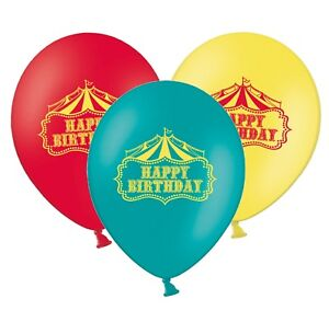 Happy-Birthday-Circus-12-034-Latex-Assorted-Balloons-Pack-of-12-by-Party-Decor
