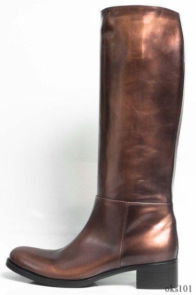 New  1150 PRADA PRADA PRADA bronze leather riding equestrian TALL FLAT Stiefel 41 US 11 - BEST 32ff4f
