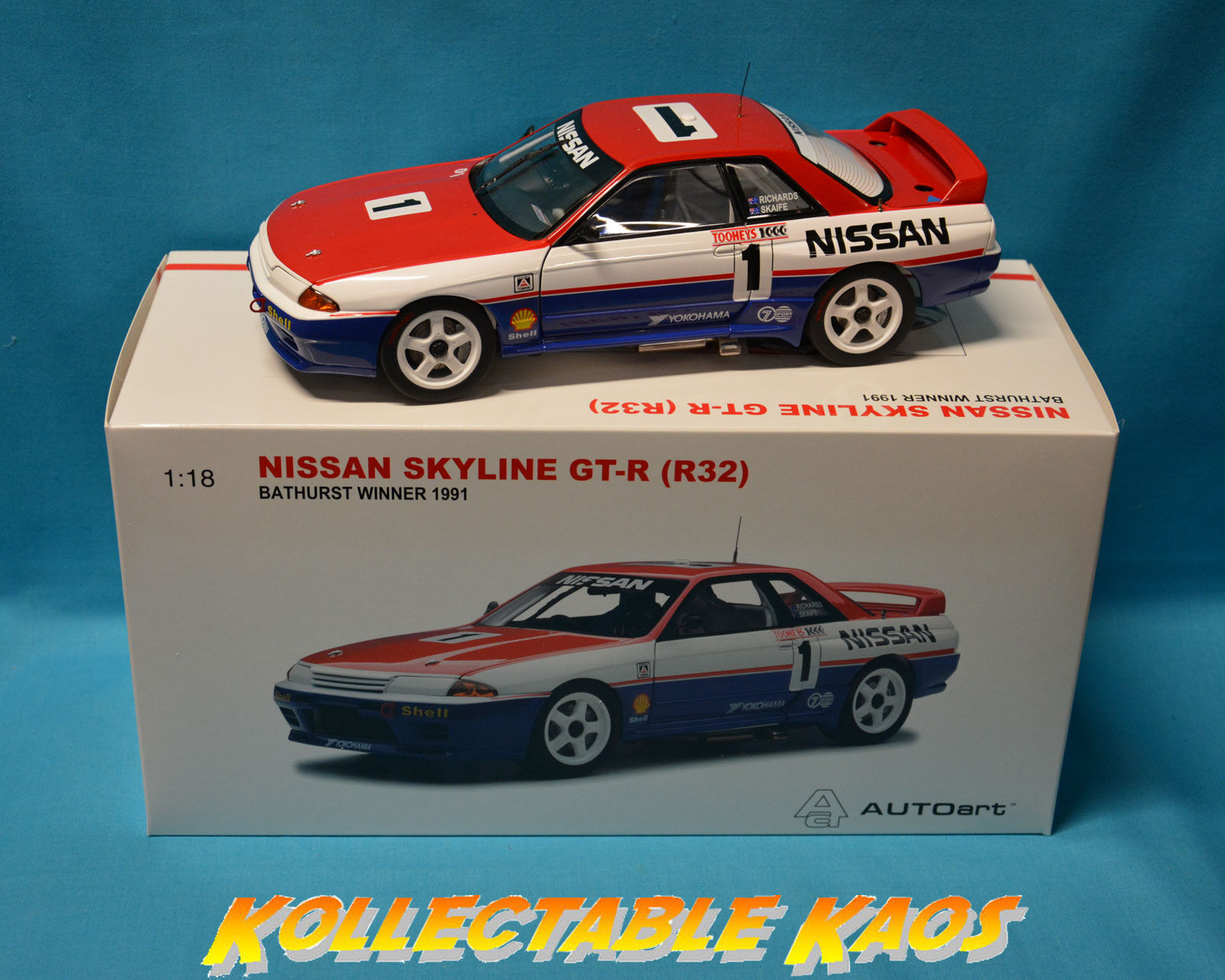 1 18 AutoArt - 1991 Bathurst Winner 1000 - Nissan GTR R32 - Richard Skaife  NEW