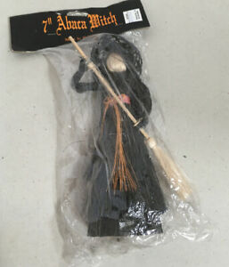 Sealed-7-Abaca-Halloween-Witch-Creative-Crafts-Decoration-NOS-Vintage-Tree-Top