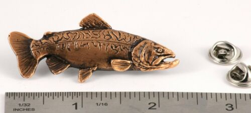 Pewter Tiger Trout Fish Lapel Pin or Refrigerator Magnet Made in USA F022