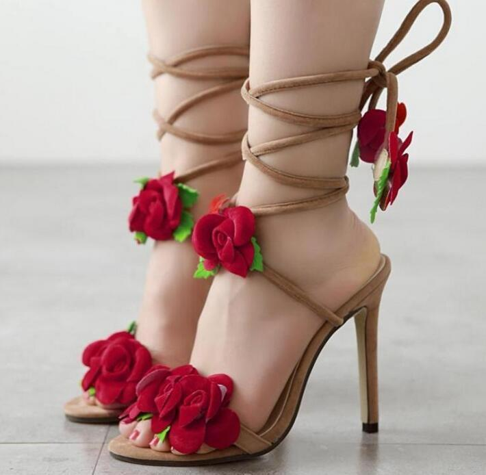 Womens pink flower Sexy Peep Toe Sandals High heels Sandals party prom shoes