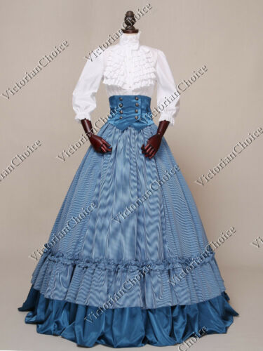 Victorian Skirts | Bustle, Walking, Edwardian Skirts    Civil War Victorian Old West Plaid Ball Gown 3PC Dress Reenacting Theater N K001 $155.00 AT vintagedancer.com