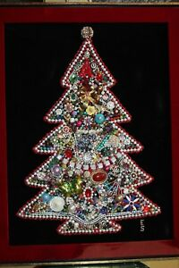 Jewelry Christmas Trees.Details About Large Vintage Framed Jewelry Christmas Tree Rhinestones Costume Beads Pearls