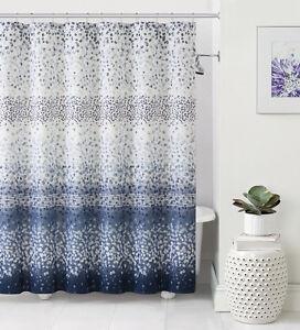 Celebration Navy Blue White Striped Confetti Fabric Shower Curtain