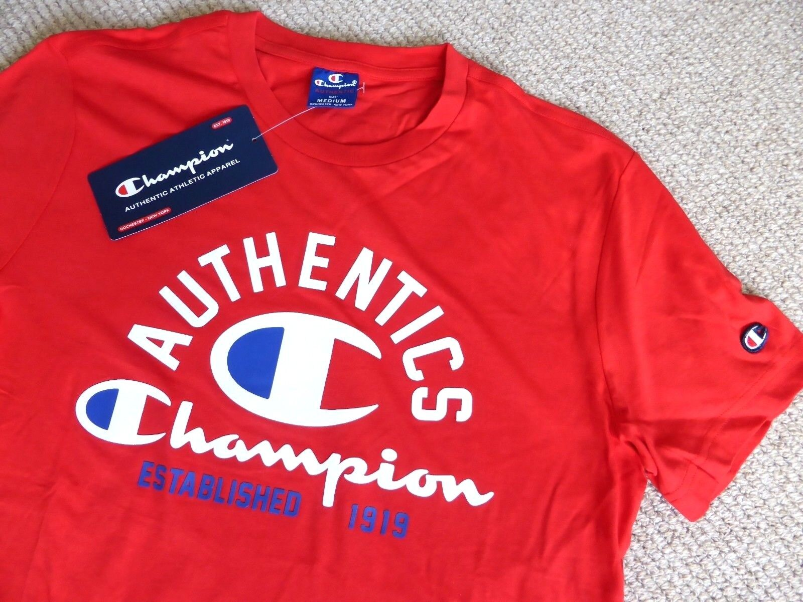 M or L CHAMPION USA Racing Red T Shirt LOGO Authentic Cotton Adult TAGS