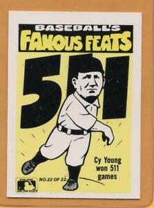 Details About 1986 Fleer Famous Feats Baseball Card 22 Cy Young