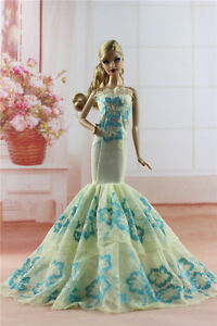 Royalty-Mermaid-Dress-Party-Dress-Wedding-Clothes-Gown-For-Barbie-Doll-H04U