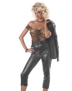 Image is loading 1950-039-s-Style-Sexy-Biker-Chick-Costume-  sc 1 st  eBay & 1950u0027s Style Sexy Biker Chick Costume 5 Pc Blk Capri Pants Top Belt ...
