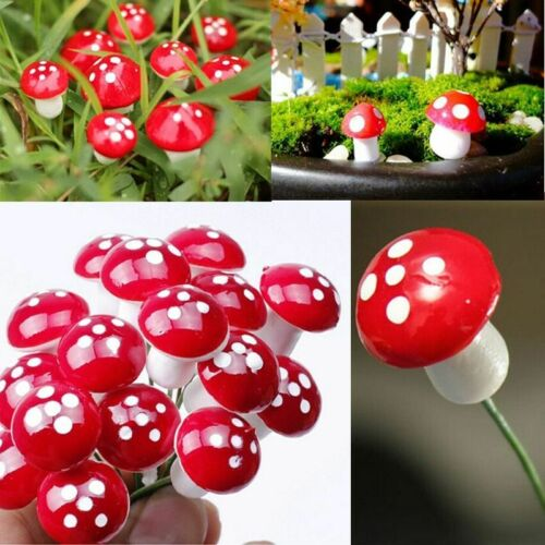 10 PCS Mini Mushroom Garden Statue Miniatures Fairy Moss Terrarium Resin Crafts