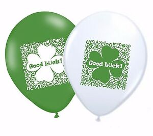 Good-Luck-11-034-Leaf-Clover-Latex-Party-Decor-Balloons-Matching-Ribbon