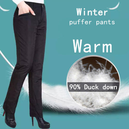 Ladies Padded Quilted Trousers Duck Down Puffer Pants Thick Outwear Warm Winter