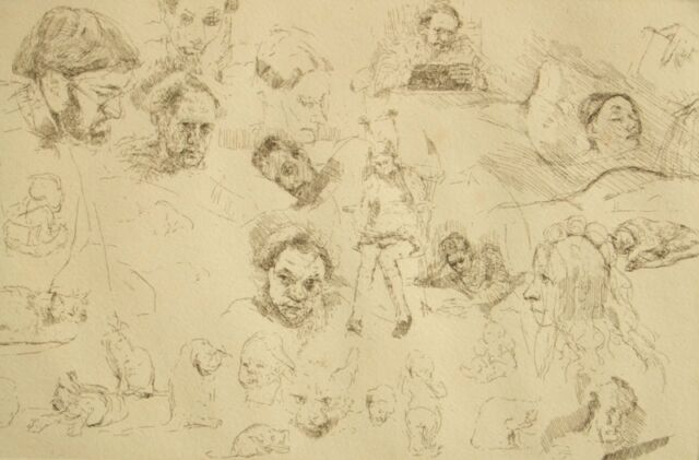 Illegible pencil signed limited edition cat and face studies etching