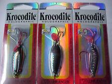 3 NEW LUHR JENSEN KROCODILE SPOONS TROUT WALLEYE fishing 3/16 OZ BLACK SILVER